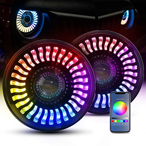 MICTUNING 7 Inch Headlight RGB Halo Light Replacement for Jeep Wrangler JK LJ TJ 1997-2014, Hummer H1 H2 Bluetooth Control Color Changing Halo Headlight 2pcs