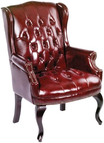 Best Boss Office Products Wingback Traditional Guest Chair in Burgundy