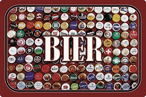 Cartel de chapa de 20 x 30 cm, arqueado de cerveza, colección de chapas de cerveza