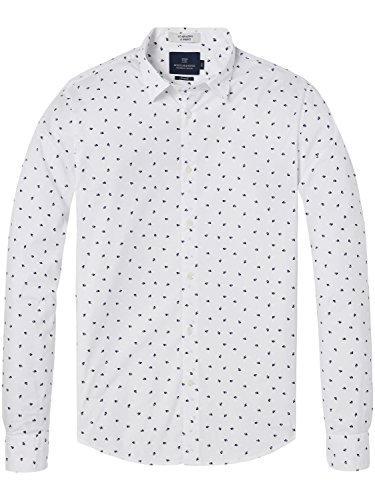 Scotch & Soda Longsleeve Shirt with all-Over Print Camicia, Bianco (Combo A 0217), Large Uomo