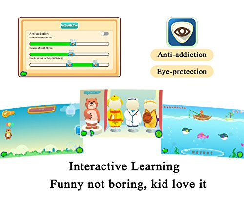 """Kids Tablet, B.B.PAW 7"""" Eye-protection Whole Brain Education Gifts Tablet for Kids 2 to 6 Years Old with 90+ Preloaded Learning and Training Apps-Sky Blue"""