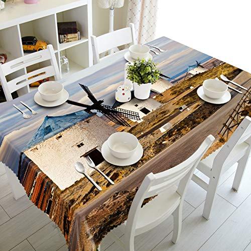 ZWBBO Tafelkleed huisdecoratie Wereld Landschap d Tafelkleed Hollandse Windmolen Kasteel Kleine Stad Patroon Polyester Katoen Rechthoekige doek voor Party