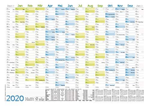 Wandkalender 2020 A3 (42 x 30 cm) für 14 Monate Dez 2019 - Jan 2021 | Wandplaner mit Ferien- und Feiertage-Übersicht, FSC®-Papier, gefalzt + extra A4-Kalender!