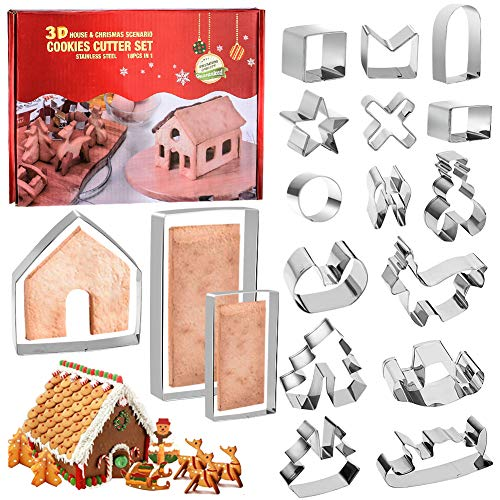 YISUYA 18PCS Christmas Cookie Cutter, 3D Stainless Steel Gingerbread House Kit Cookie Cutter Set, Baking Tools for Kids Party - Tree, Reindeer, Snowman, Sleigh - Holiday Cookie Cutter Molds