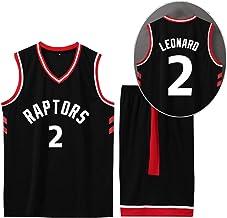 CURVEASSIST Conjunto De Camisetas De Baloncesto Toronto Raptors # 2 Leonard Hombres Retroceso RespirableBaloncesto Verano Corto Secado Rápido Ropa Deportiva Negro,Black-XS
