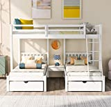 Wood Triple Bunk Bed with 3 Drawers and Guardrails, Full Over 2 Twin Bunk Bed for Family, Kids, Teens,No Box Spring Needed