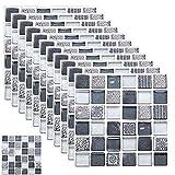 kiptyg Pegatinas Para Azulejos De Piso De Pared PVC, Pegatinas de suelo de mosaico, a prueba de humedad y a prueba de manchas, adecuado para cocina, baño, sala de estar (20 x 20cm, 12 piezas, A)