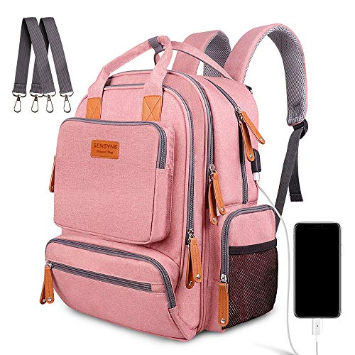 Sensyne Diaper Bag Backpack, Multifunction Waterproof Travel Baby Bag for Mom