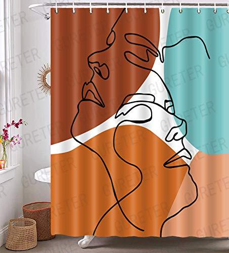Duschvorhang mit abstraktem Gesicht, Morandi Farbe, moderne Linie, minimalistisch, Kunst, Badezimmer, Gardinen, 183 x 183 cm, maschinenwaschbar, blickdicht, modern, mit 12 Haken YLLLGE124