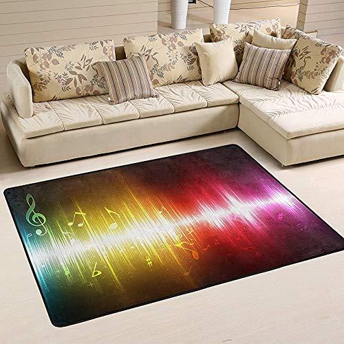 Fun-World Area Rug Tapis de Musique Arc-en-Ciel Tapis coloré Moderne pour Salon Chambre à Coucher Tapis de Chambre de bébé Lavable en Machine,150X100Cm