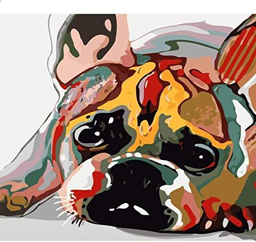 Jkykpp Kleurrijke hondenmatras abstract foto DIY digitaal olieverfschilderij op cijfers Animal Oderno muur kunst foto decoratie thuis beginners kinderen volwassenen tekenset cadeauset