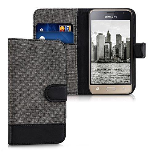 kwmobile Hülle kompatibel mit Samsung Galaxy J1 (2016) - Kunstleder Wallet Case mit Kartenfächern Stand in Grau Schwarz