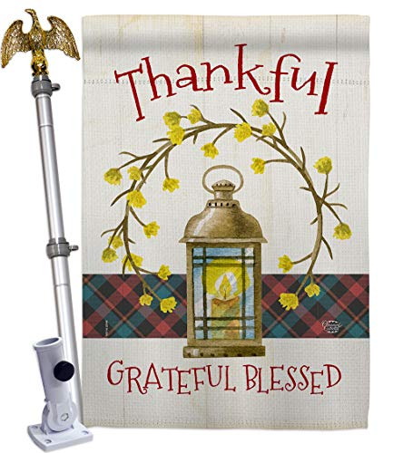 Ornament Collection Thanksgiving Wreath House Flag Eagle Set Fall Turkey Give Thanks Gobble Pumpkin Season Autumntime Cornucopia Decoration Banner Small Garden Yard Gift Double-Sided, Made in USA