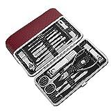 Set de manicura y pedicura para hombres y mujeres con funda de piel sintética roja, 16 en 1, herramienta de aseo profesional para viajes y hogar