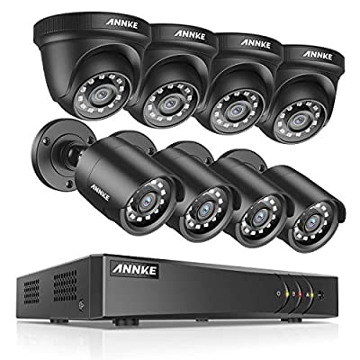 ANNKE Surveillance Security Camera System 1080P Lite 8CH Video DVR Recorder with (8) 2.0MP 1920TVL Bullet/Dome Weatherproof CCTV Cameras, NO Hard Drive