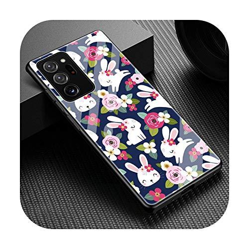 Funda de lujo de vidrio templado para Samsung Galaxy Note 20 Ultra 5G 10 Plus 8 9 10 Lite linda flor floral cubierta coque Fundas-T12-para nota 20 5G