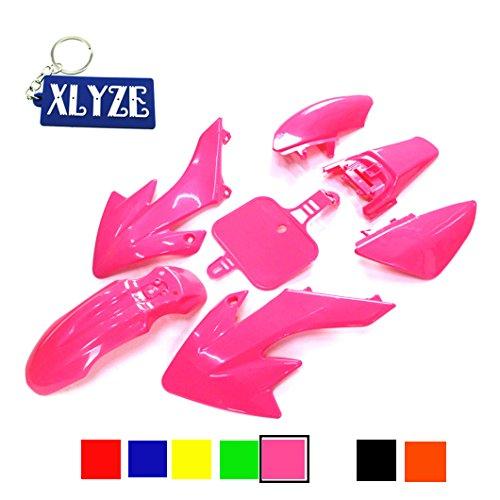 Xlyze Kunststoff-Schutzverkleidung für Honda Piranha CRF50 XR50 50cc 70cc 90cc 110cc 125cc 140cc 150cc 160cc Dirtbike Pitbike SDG SSR Rosa