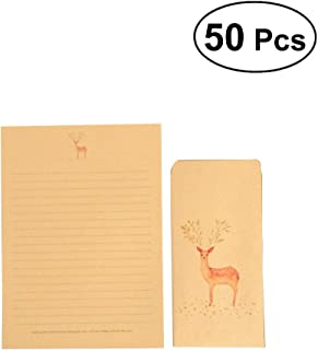 NUOLUX 50Pcs Vintage Writing Paper Stationery Letter Paper Kraft Brown Writing Paper (Random Pattern)