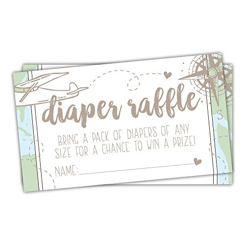 50 Adventure Awaits Diaper Raffle Tickets for Baby Shower - Invitation Inserts