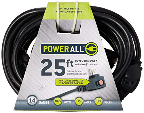 Power All - Extension Cord with Circuit Breaker - 3 Outlets - 125V | 25 ft. | 14 Gauge - Moisture Resistant, Flexible, and Durable for Outdoor / Indoor Use