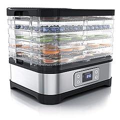 Arendo - Dörrautomate avec régulateur de température - Extenseur en acier inoxydable pour alimentation Viande Fruits Légumes - 260 W - avec minuterie jusqu'à 72 h - 35-70 degrés - 5 compartiments à insensage - GS - Déshydratant - BPA libre