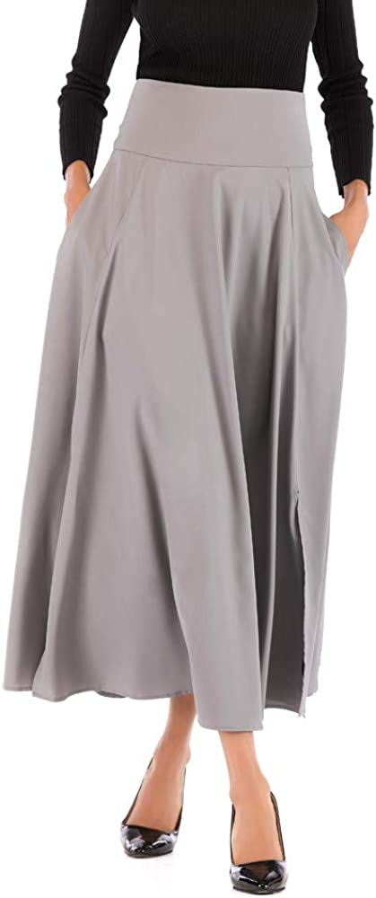 Gergeos Womens A-Line Skirts with Pocket, High Waist Pleated Skirt Maxi Skirt for Ladies