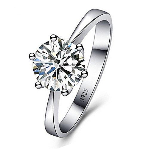 skyllc® Delicado de Plata Chapado espumoso Exquisito Diamante de imitación Anillo de Bodas de Compromiso para Las Mujeres