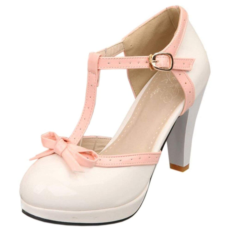 [Unm] ファッション T-Strap Bows サンダル レディーズ プラットフォーム ハイヒール パンプス 靴