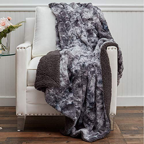 The Connecticut Home Company Faux Fur with Sherpa Reversible Throw Blanket, Many Colors, Super Soft, Large Luxury Blankets, Warm Hypoallergenic Washable Throws for Couch or Bed, 65x50, Gray Tie Dye