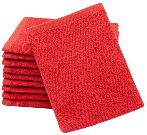 ZOLLNER 10 Manoplas de baño, algodón, 16x21 cm, Rojo