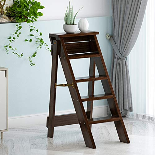 CHGDFQ Escalera plegable multifuncional para el hogar de madera maciza con escalera espiga para interiores y exteriores, 5 pasos, taburetes de pie para niños y adultos (color: B)