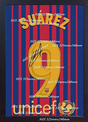 S&E DESING Luis Suarez t Shirt Barcelona Signed Poster Photo Printed on Canvas 100% Cotton Replica Framed