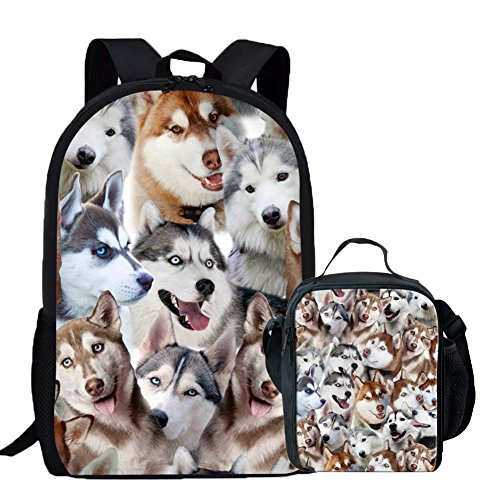 Coloranimal K-CA499C+G3, Unisex Kinder Kinderrucksack Husky Backpack+lunch Bag-3 Einheitsgröße