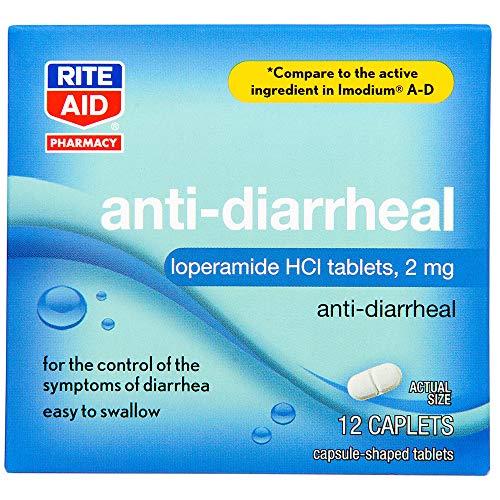 Rite Aid Anti-Diarrheal Caplets - 12 Count - 2 mg Loperamide Hydrochloride - Easy-to-Swallow Anti-Diarrhea Pills - Diarrhea Medicine - Diarrhea and Stomach Relief - Control Symptoms of Diarrhea