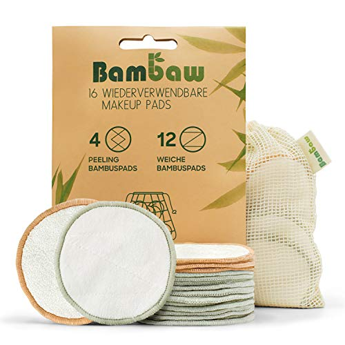 Waschbare Abschminkpads | 16 Wiederverwendbare Wattepads aus Bambus & Baumwolle mit Wäschebeutel | Pads Waschbar | Wattepads wiederverwendbar | Abschminkspads Waschbar | Zero Waste | Bambaw