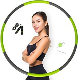 Pathonor Hoola Hoop for Adults Weight Loss, Weighted Hoola Hoops Hula Fitness Hoop with Skipping Rope Cute Soft Ruler, 8 S...
