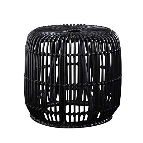 WSG Black Rattan Side Table Hand Made 47 cm Height