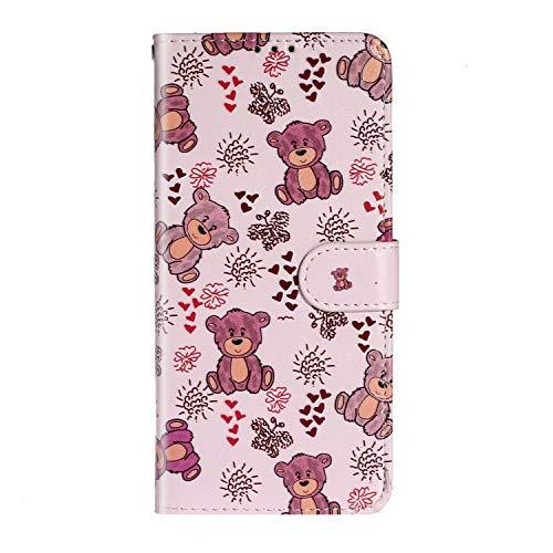 Karomenic PU Leder Hülle kompatibel mit Samsung Galaxy A51 Emboss Blume Muster Handyhülle Brieftasche Silikon Schutzhülle Klapphülle Ledertasche Standfunktion Wallet Flip Case Etui,Bär