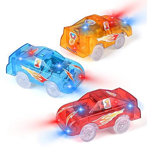 Funkprofi Spielzeugautos für Kinder ab 3 Jahre alt, 3 Pack Kinderspielzeug Auto Track Cars mit 5 LED Lichter Rennauto Rennwagen Leuchtender Elektrischer Eisenbahnwagen ( Gelb, Blau, Lila)