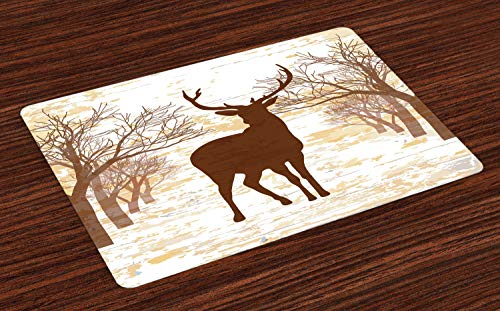 ABAKUHAUS Herten jagen Placemat Set van 4, Rustic Silhouette Art, Wasbare Stoffen Placemat voor Eettafel, beige Chocolade
