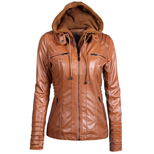 OutTop Women's Hooded Faux Leather Jacket Coat Removable Hoodie Zipper Tops (XS, Black)