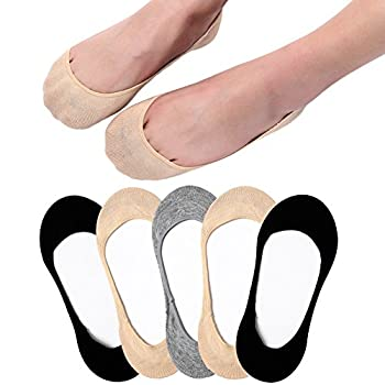 Ultra Low Cut Liner Socks Women No Show Non Slip Hidden Invisible for Flats Boat Shoes Footie Summer 5 Pairs