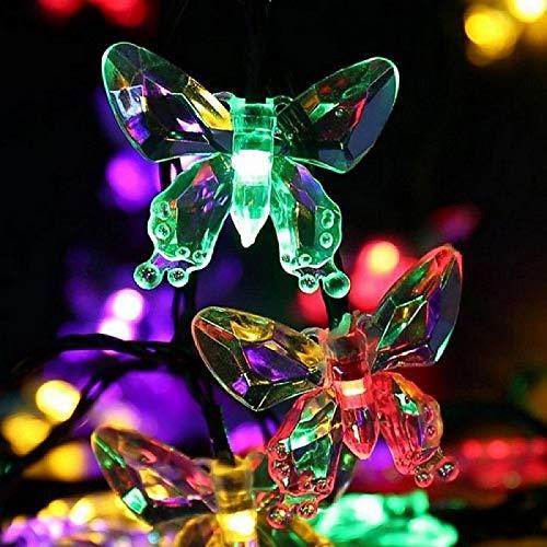 Solar Butterfly Light String 20LED 2 Lighting Modes Garden Waterproof Light String Holiday Party Decoration Light String Multi