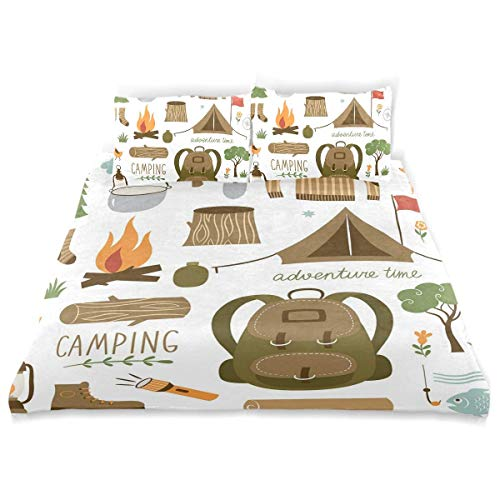Juego de Funda nórdica Equipo de Campamento Saco de Dormir Botas Pala Campfire Pala Hacha Log Artwork Impresión Decorativa Juego de Cama de 3 Piezas con 2 Fundas de Almohada