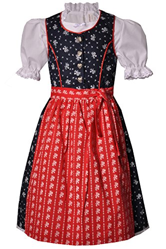 Coala Kinderdirndl Eisingen dunkelblau/rot lang Set, Gr. 74/80