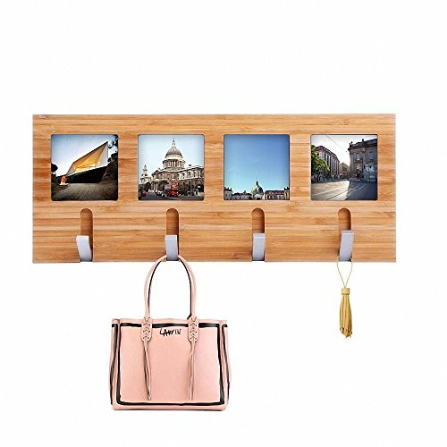 Genenic Bamboo Wall Coat Racks with Hooks Hanger Wall Mount Photo Frame for Entryway Bedroom and Home Decoration (4 Hooks)