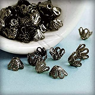 Laliva 20g Approx 100Pcs Flowers Filigree Bead Caps Findings 4x6x6mm Jewelry Making End Caps Fast Ship Wholesale - (Color: Antique Brass)