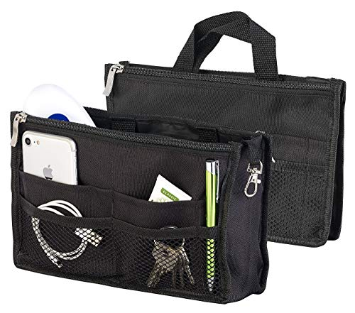 Xcase Taschenorganizer: Handtaschen-Organizer, RFID-Schutz, 13 Fächer, 26 x 16 x 8 cm, schwarz (Handtaschen Organizer klein)