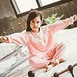 NUGKPRT Bata de baño,Pijamas para niños Niños Otoño Franela Gruesa Princesa Wind Plus Traje para el hogar Ropa 8 Rosa