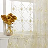 Aside Bside Vintage Bead8511 Sheer Curtain Embroidered Beaded Lace Voile Draperies Rod Pocket Panel for Living Room Bedroom Dining(1 Panel, Beige Bottom with Beige Embroidery, W 50 x L 95 inch)